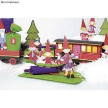 Christmas Train Craft Kit, 1 locomotive, carriage 6, deco and gnome family