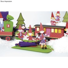 Kinder Bastelsets / Kids Craft Kits Christmas Train Craft Kit, 1 locomotive, carriage 6, deco and gnome family