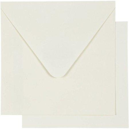 KARTEN und Zubehör / Cards 10 tarjetas y sobres, tamaño tarjeta de 12,5x12,5 cm, de color blanquecino