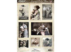 Vintage, Nostalgia und Shabby Shic A4 la hoja de corte - Imagen Romántica