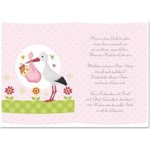5 transparante papieren, vel A5, gedichten geboorte meisje