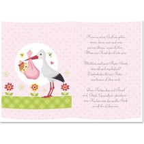 5 Transparentpapiere, Bogen A5, Gedichte Geburt Mädchen