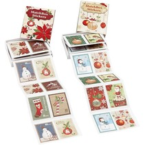Hübsche gezackte Sticker, Größe 25x33 mm, 36 sortiert, weihnachtsmotive