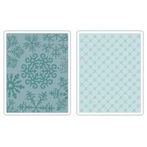 2 Embossing Folder 11,43x14,61 cm, copo de nieve y estrellas