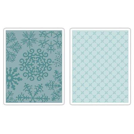 Sizzix 2 Embossing Folder 11,43x14,61 cm, copo de nieve y estrellas