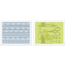2 Embossing Folder 11,43x14,61 cm, Sewing und Measuring Tape Set