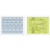 2 Embossing Folder 11,43x14,61 cm, syning og målebånd Set