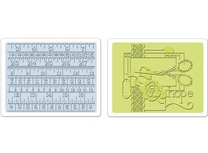 Sizzix 2 Embossing Folder 11,43x14,61 cm, Sewing und Measuring Tape Set