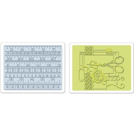 Sizzix 2 Embossing Folder 11,43x14,61 cm, naaien en meetlint Set