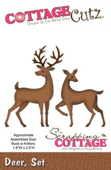 Cottage Cutz Stamping and Embossing Stencil, 2 reindeer motif size 4.6 x 6.4 cm