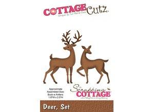 Cottage Cutz Stempling og Prægeskabelon, 2 rensdyr motiv størrelse 4,6 x 6,4 cm