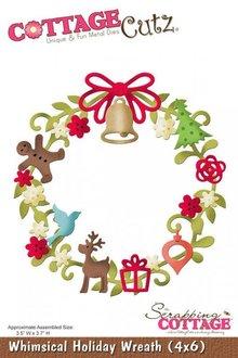 Cottage Cutz Stempling og Prægeskabelon, jul Wreath Motiv Størrelse: 8,9 x 9,4 cm
