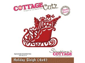 Cottage Cutz Stamping and Embossing Stencil, Christmas sleigh Motif Size: 9.1 x 7.6 cm