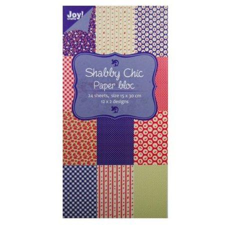 Joy!Crafts und JM Creation Bloque de papel, 15x30cm - Shabby Chic (azul)