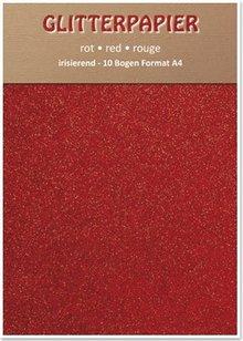 DESIGNER BLÖCKE  / DESIGNER PAPER Glitter iridescent paper, A4, 150 g / sqm, red