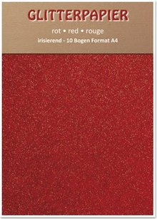 DESIGNER BLÖCKE  / DESIGNER PAPER Glitterpapier irisierend, Format A4, 150 g / qm, rot