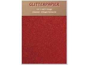 DESIGNER BLÖCKE  / DESIGNER PAPER Glitter iridescent paper, format A4, 150 g / sqm, red