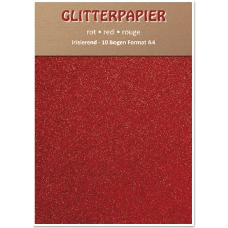 DESIGNER BLÖCKE  / DESIGNER PAPER Papel brillo iridiscente, formato A4, 150 g / m², de color rojo