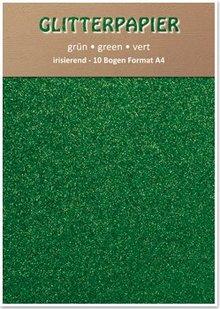 DESIGNER BLÖCKE  / DESIGNER PAPER Glitter carta iridescente, formato A4, 150 g / mq, verde