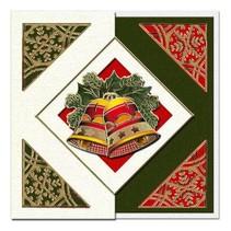 Et sæt af 5 kort og kuverter i julen grøn, rød eller creme