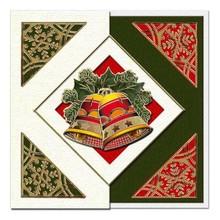 KARTEN und Zubehör / Cards Un set di 5 carte e buste in verde Natale, rosso o crema