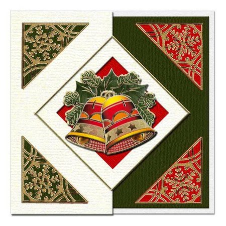 KARTEN und Zubehör / Cards A set of 5 cards and envelopes in Christmas green, red or cream