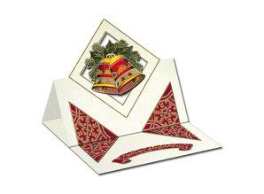 KARTEN und Zubehör / Cards Et sæt af 5 kort og kuverter i julen grøn, rød eller creme