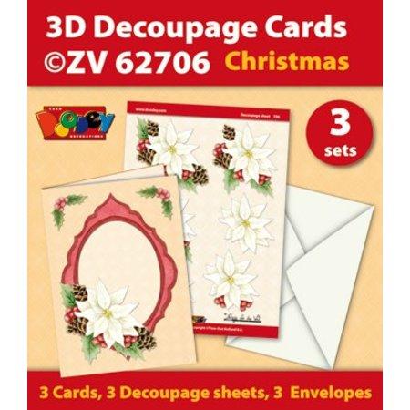 KARTEN und Zubehör / Cards Craft Kit til 3 Decoupage kort + 3 konvolutter - Copy