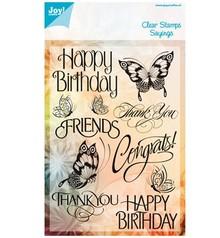 Joy!Crafts und JM Creation Klare stempler, sommerfugle og tekst