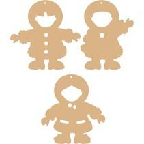 3 MDF ornamenter eskimoer