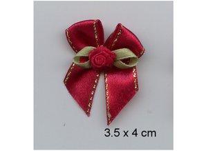 Embellishments / Verzierungen edele mini bows red, 5 pieces