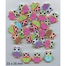 10 botones decorativos 33 x 35 mm, de diseño: Búho