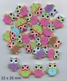 Embellishments / Verzierungen 10 decorative buttons 33 x 35mm, Design: Owl