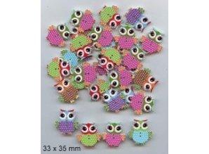 Embellishments / Verzierungen 10 bottoni decorativi 33 x 35 millimetri, Design: Gufo