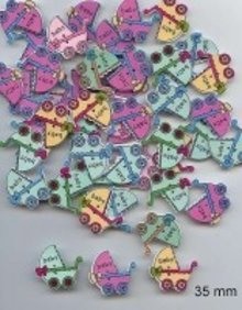 Embellishments / Verzierungen 6 dekorative knapper 33 x 35 mm, Design: Baby
