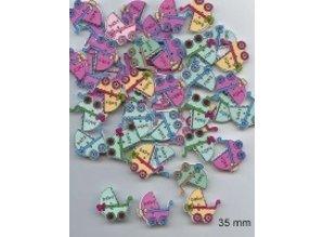 Embellishments / Verzierungen 6 dekorative knapper 33 x 35 mm, Design: Baby