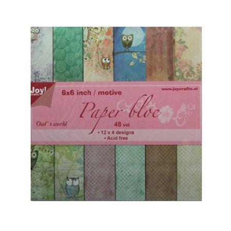 Joy!Crafts und JM Creation bloque de papel, 15x15cm, el mundo de la lechuza