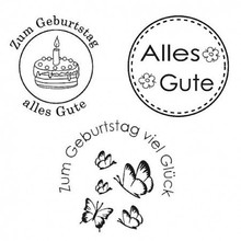 Stempel / Stamp: Transparent Stempel: Alles Gute, 3 - teilig