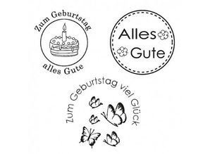 Stempel / Stamp: Transparent Clear Stamp, Happy, 3 - piece, transparent