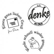 Stempel / Stamp: Transparent Stempel: Ich denke an Dich, 3 - teilig