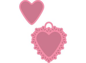 Marianne Design Embossing and cutting template + stamp, candy hearts