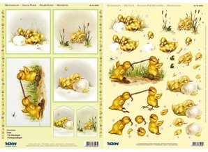 "BILDER / PICTURES: Studio Light, Staf Wesenbeek, Willem Haenraets 3D Stanzbogenset ""chick"", 1 pattern sheet and 1 die cut sheet, A4"