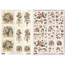 "3D Stanzbogenset ""Rose Antique"" 1 Scene 1 bow and cut sheets, A4"