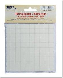 BASTELZUBEHÖR / CRAFT ACCESSORIES Foampads 5 x 5 mm weiss, Beutel 100 Stük, 1 mm dick