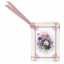 Rubbelbilder, 16 Blumensträuße für Minikärtchen  + 16 Minikärtchen