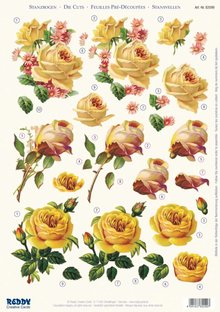 BILDER / PICTURES: Studio Light, Staf Wesenbeek, Willem Haenraets 3D die cut sheet yellow roses, A4
