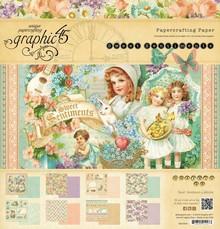 "Graphic 45 Diseñadores bloque, bloque de papel, ""Sentimientos dulces papel pista"" 24 hojas, 30,5 x 30,5 cm"