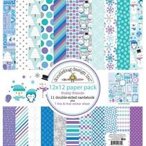 Designer Block, papir blok, Doodlebug - Frosty Friends 30,5 x 30,5 cm