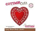 Cottage Cutz Stempling og prægning stencil, Lacy Doily Heart (4x4), mellemlægsserviet hjerte