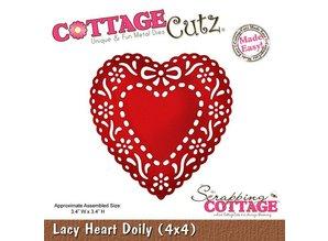 Cottage Cutz Stampaggio e goffratura stencil, Lacy Doily Cuore (4x4), cuore doily